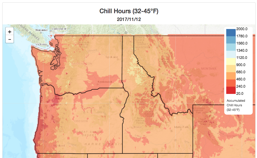 Chill Hours in Climate Mapper